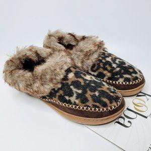 Kooba Leopard Pattern Faux Fur House Slippers New